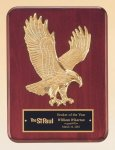 Rosewood Piano Finish Plaque with Gold Eagle Casting Eagles & Stars