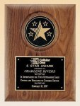 American Walnut Plaque with 5 Star Medallion Eagles & Stars