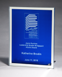 Glass Plaque with Blue Center and Mirror Border Glass Awards