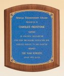 American Walnut Plaque with Linen Textured Plate Recognition Plaques